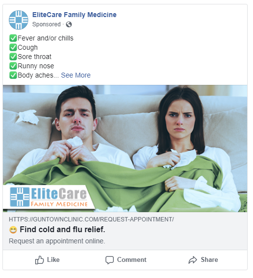 cold and flu facebook ads