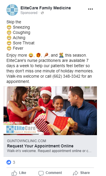 holiday medical clinic facebook ads