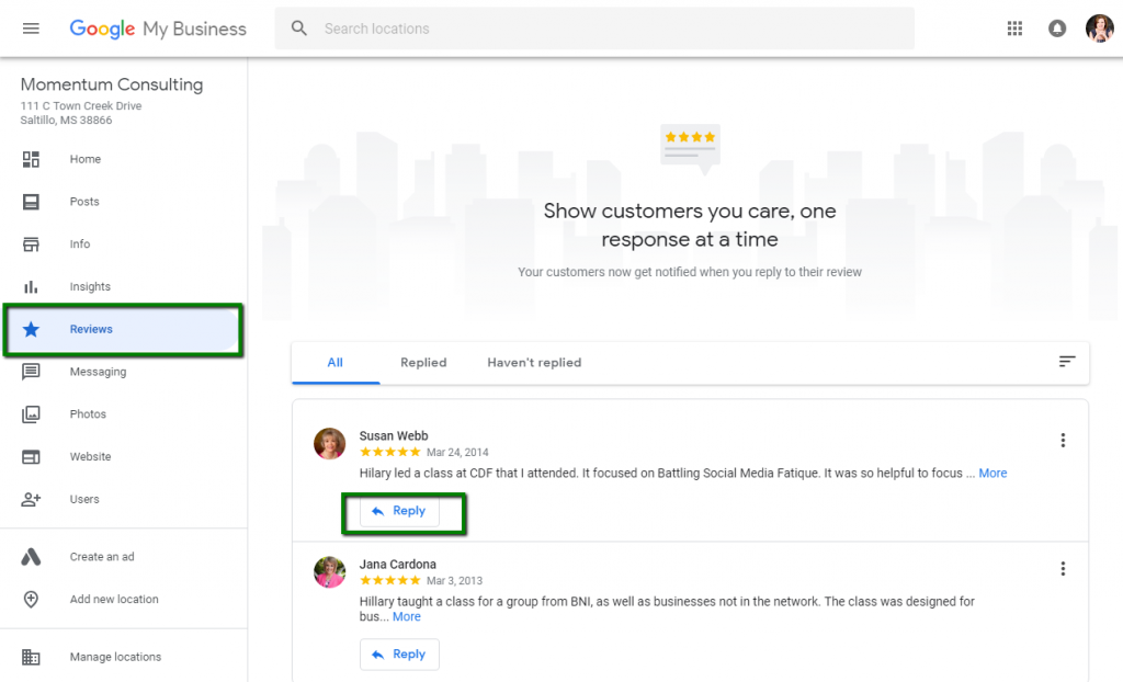 respond to Google business reviews