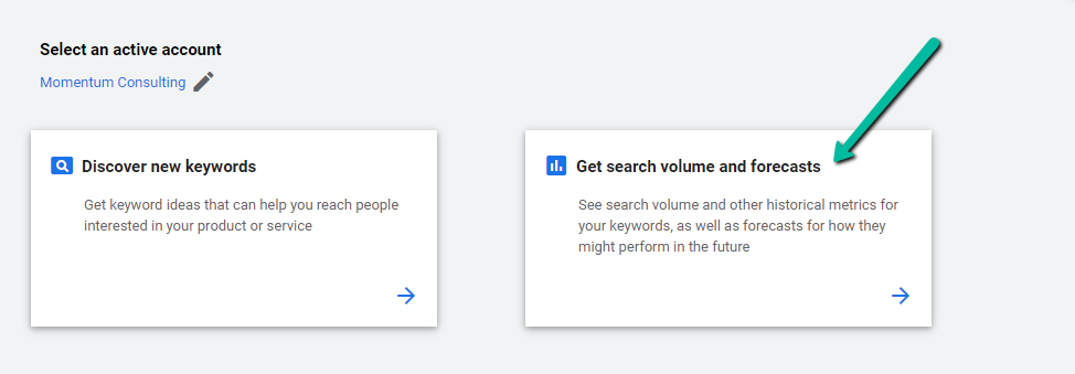 get search volume and forecasts google keyword planner screenshot