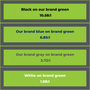 green color contrast example